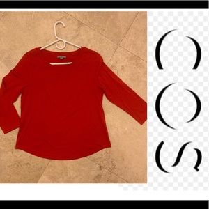 COS 3/4 sleeve red top